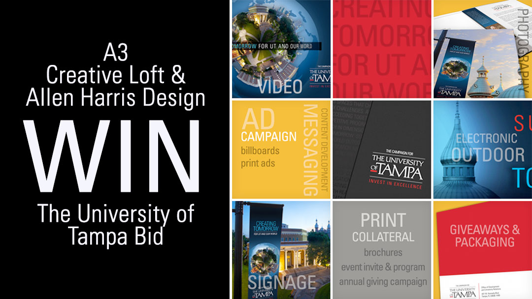 Allen Harris Design and A3 Creative Loft Win Bid for University of Tampa Capital Campaign Initiatives