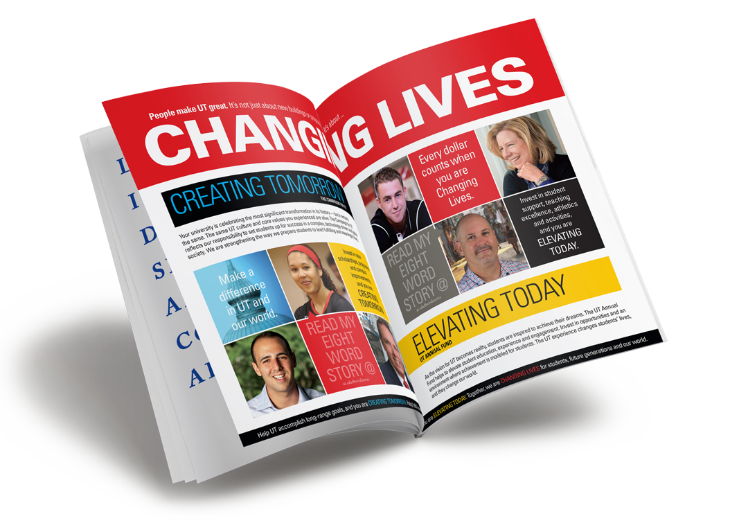 UT Journal Changing Lives campaign spread