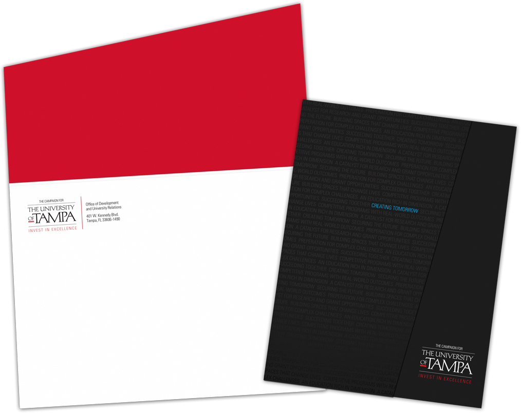 University of Tampa Capital Campaign solicitation folder and mailing envelope