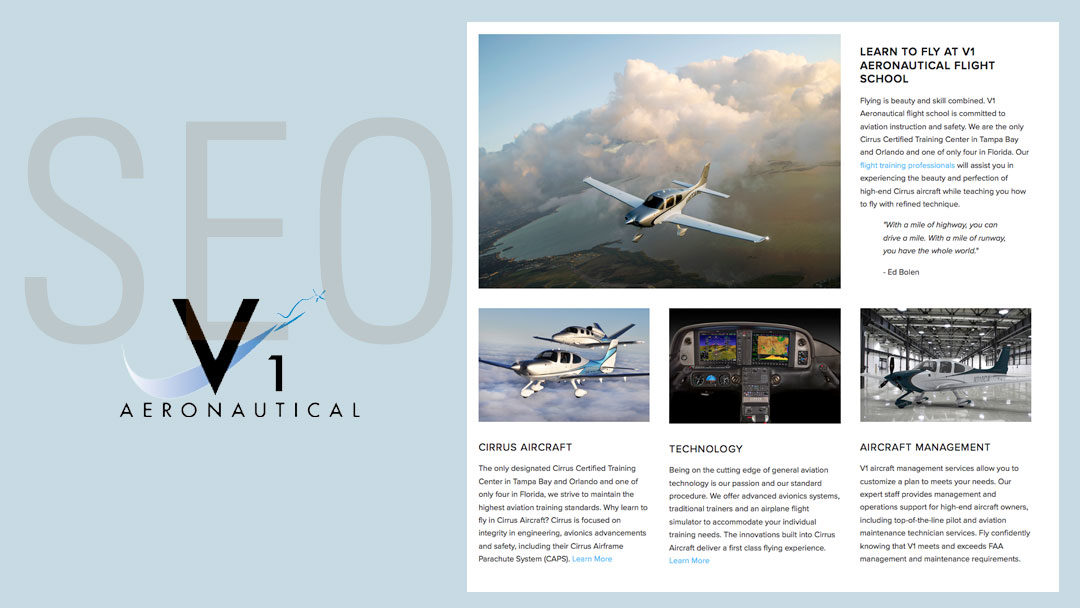 V1 Aeronautical Website Gets SEO Upgrade